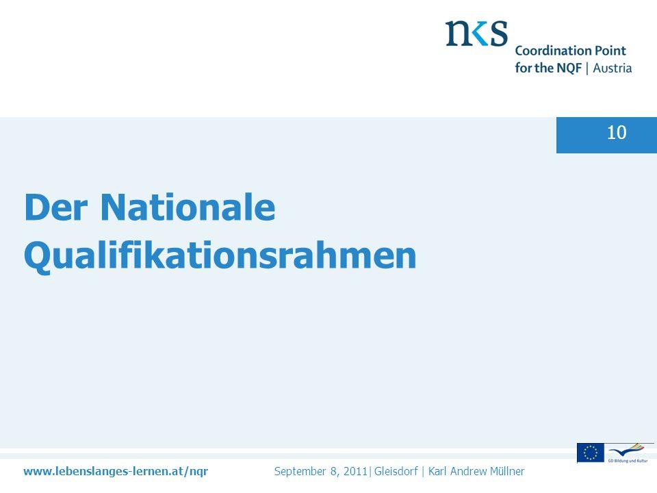 www.lebenslanges-lernen.at/nqr September 8, 2011| Gleisdorf | Karl Andrew Müllner 10 Der Nationale Qualifikationsrahmen