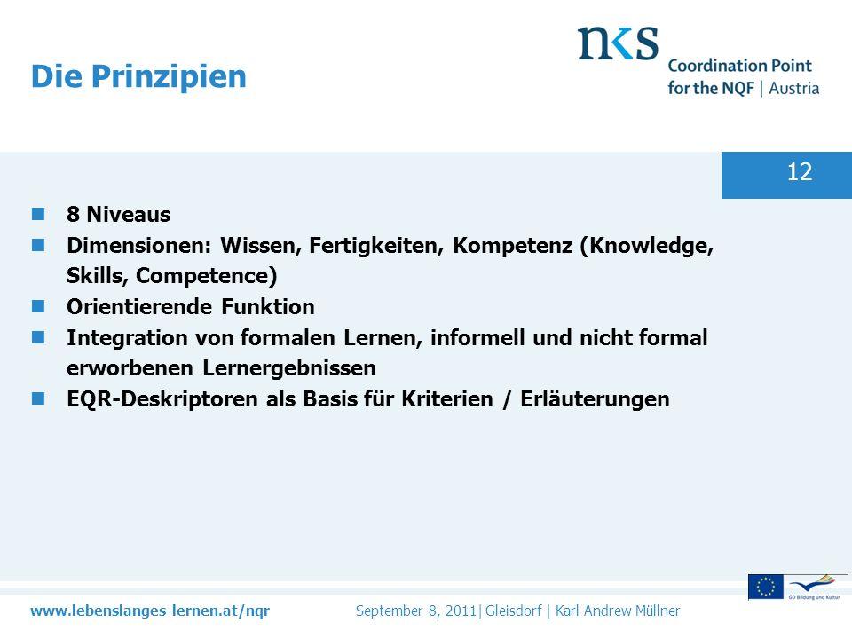www.lebenslanges-lernen.at/nqr September 8, 2011| Gleisdorf | Karl Andrew Müllner 12 Die Prinzipien 8 Niveaus Dimensionen: Wissen, Fertigkeiten, Kompetenz (Knowledge, Skills, Competence) Orientierende Funktion Integration von formalen Lernen, informell und nicht formal erworbenen Lernergebnissen EQR-Deskriptoren als Basis für Kriterien / Erläuterungen