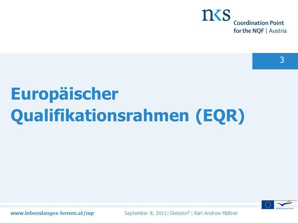 www.lebenslanges-lernen.at/nqr September 8, 2011| Gleisdorf | Karl Andrew Müllner 3 Europäischer Qualifikationsrahmen (EQR)