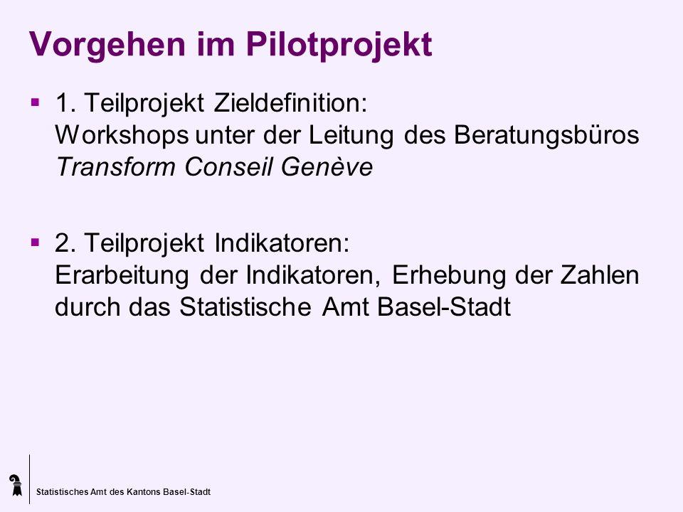 Statistisches Amt des Kantons Basel-Stadt Vorgehen im Pilotprojekt 1. Teilprojekt Zieldefinition: Workshops unter der Leitung des Beratungsbüros Trans