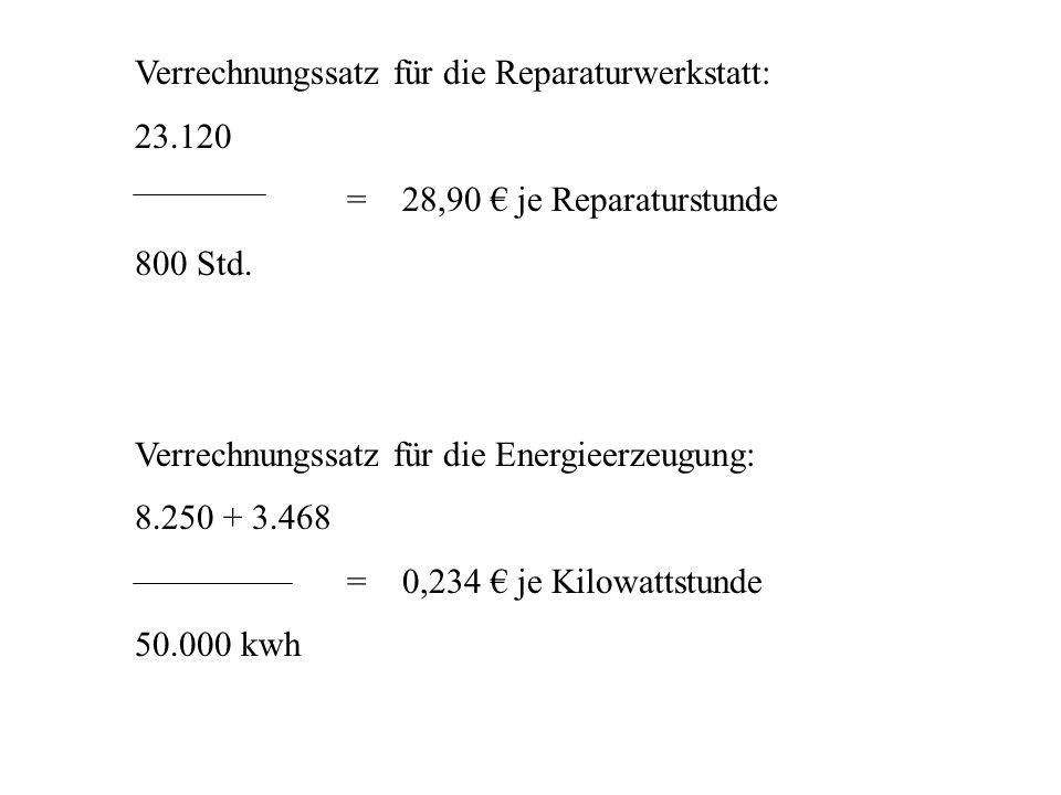 Verrechnungssatz für die Reparaturwerkstatt: 23.120 = 28,90 je Reparaturstunde 800 Std. Verrechnungssatz für die Energieerzeugung: 8.250 + 3.468 = 0,2