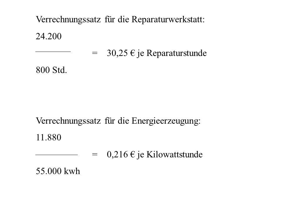 Verrechnungssatz für die Reparaturwerkstatt: 24.200 = 30,25 je Reparaturstunde 800 Std. Verrechnungssatz für die Energieerzeugung: 11.880 = 0,216 je K