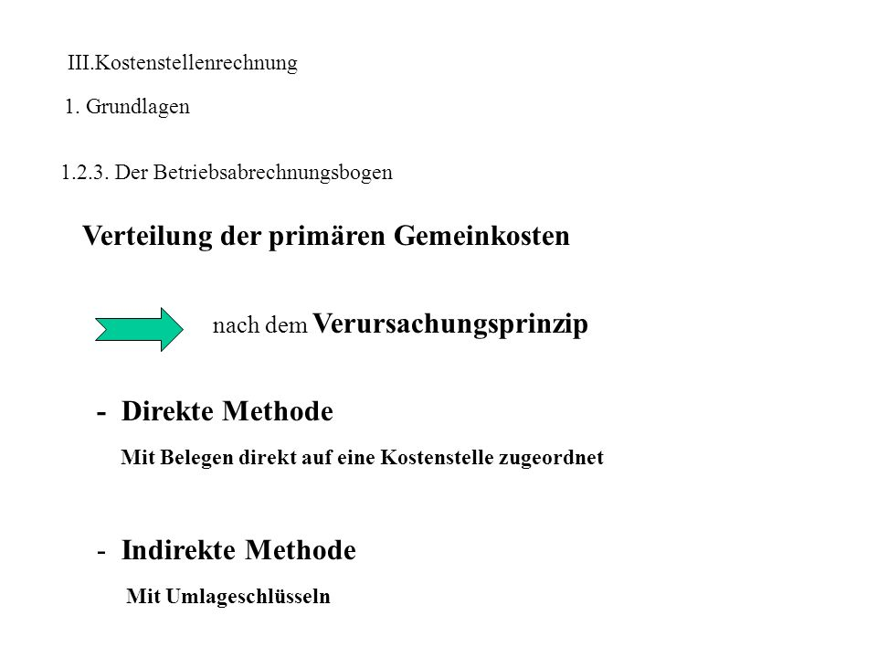 III.Kostenstellenrechnung 1. Grundlagen 1.2.3. Der Betriebsabrechnungsbogen Verteilung der primären Gemeinkosten nach dem Verursachungsprinzip - Direk