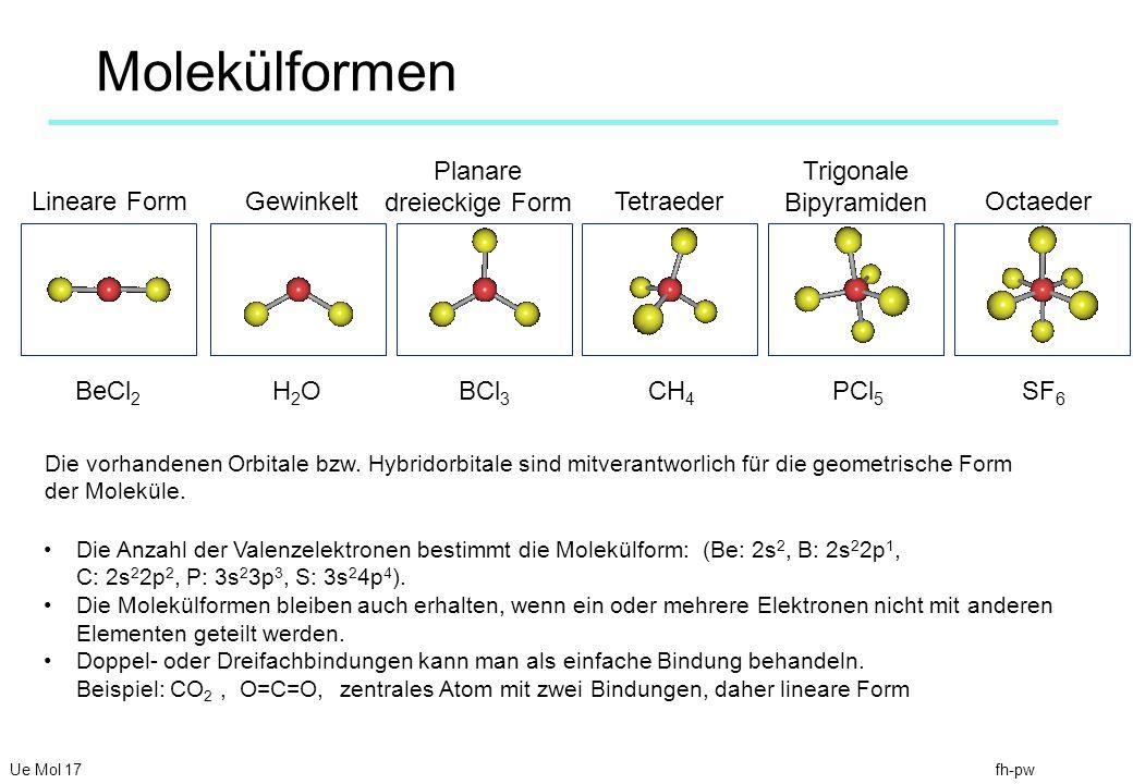 fh-pw Molekülformen Lineare Form Planare dreieckige Form Tetraeder Trigonale Bipyramiden Octaeder BeCl 2 BCl 3 CH 4 PCl 5 SF 6 Die Anzahl der Valenzelektronen bestimmt die Molekülform: (Be: 2s 2, B: 2s 2 2p 1, C: 2s 2 2p 2, P: 3s 2 3p 3, S: 3s 2 4p 4 ).