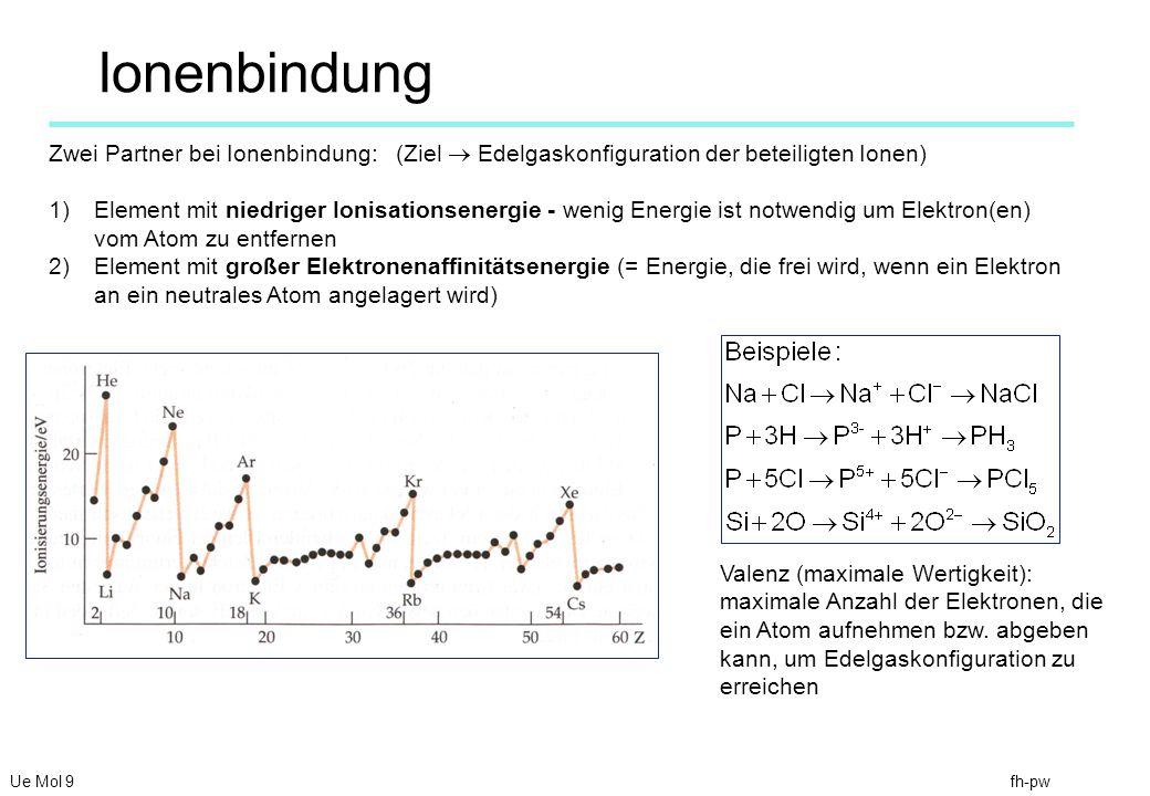 fh-pw Ionenbindung Ue Mol 9 Zwei Partner bei Ionenbindung: (Ziel Edelgaskonfiguration der beteiligten Ionen) 1)Element mit niedriger Ionisationsenergie - wenig Energie ist notwendig um Elektron(en) vom Atom zu entfernen 2)Element mit großer Elektronenaffinitätsenergie (= Energie, die frei wird, wenn ein Elektron an ein neutrales Atom angelagert wird) Valenz (maximale Wertigkeit): maximale Anzahl der Elektronen, die ein Atom aufnehmen bzw.