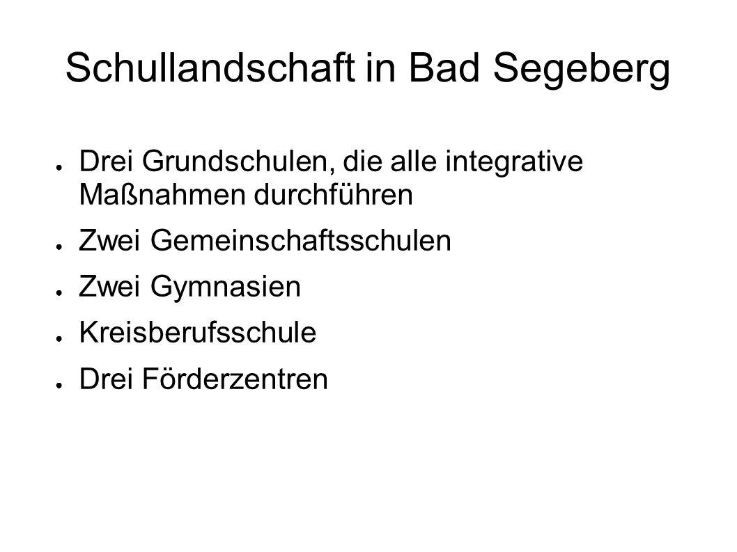 Schullandschaft in Bad Segeberg Drei Grundschulen, die alle integrative Maßnahmen durchführen Zwei Gemeinschaftsschulen Zwei Gymnasien Kreisberufsschu