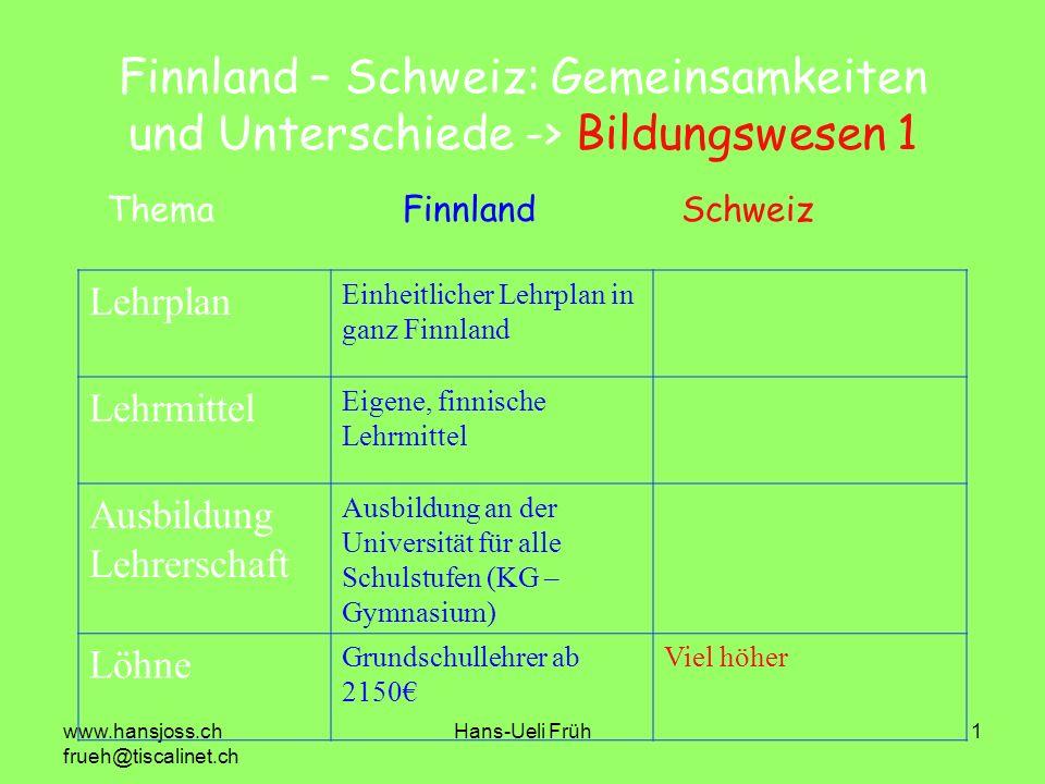www.hansjoss.ch frueh@tiscalinet.ch Hans-Ueli Früh1 Finnland – Schweiz: Gemeinsamkeiten und Unterschiede -> Bildungswesen 1 Lehrplan Einheitlicher Leh