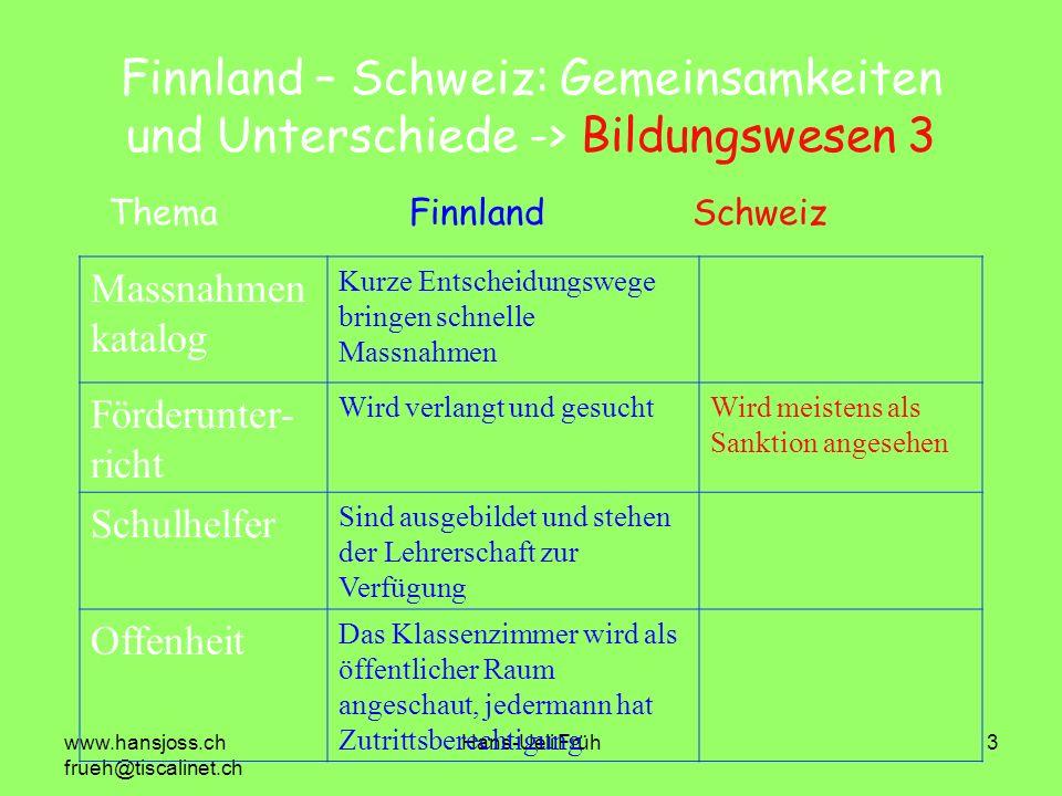 www.hansjoss.ch frueh@tiscalinet.ch Hans-Ueli Früh3 Finnland – Schweiz: Gemeinsamkeiten und Unterschiede -> Bildungswesen 3 Massnahmen katalog Kurze E