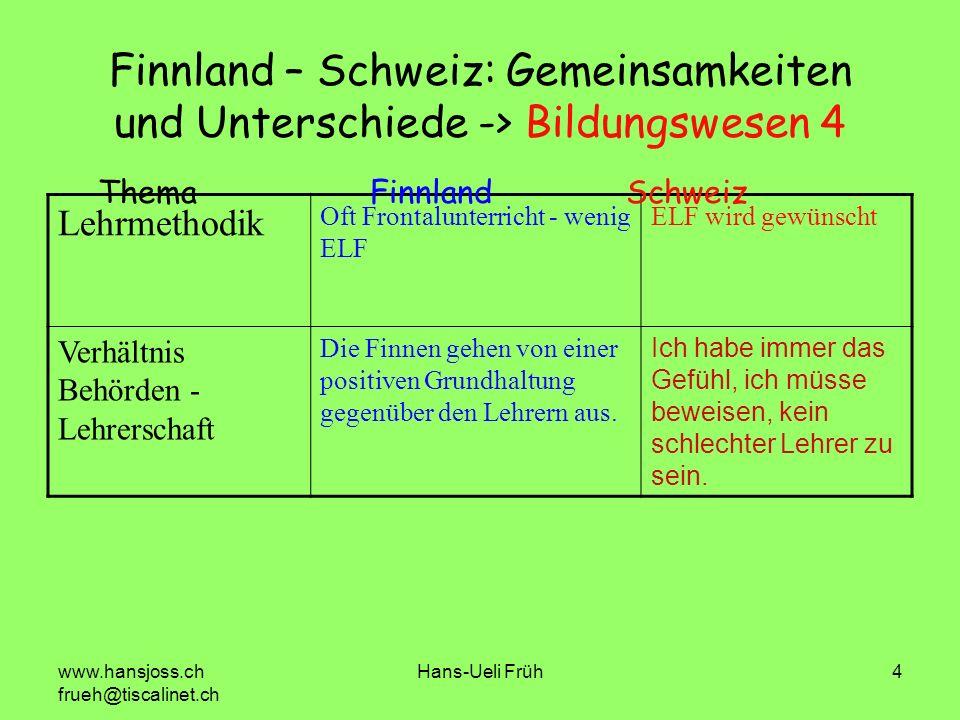 www.hansjoss.ch frueh@tiscalinet.ch Hans-Ueli Früh4 Finnland – Schweiz: Gemeinsamkeiten und Unterschiede -> Bildungswesen 4 Lehrmethodik Oft Frontalun