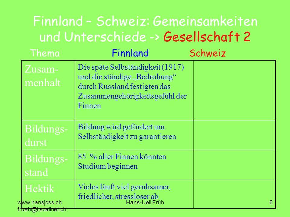 www.hansjoss.ch frueh@tiscalinet.ch Hans-Ueli Früh6 Finnland – Schweiz: Gemeinsamkeiten und Unterschiede -> Gesellschaft 2 Zusam- menhalt Die späte Se