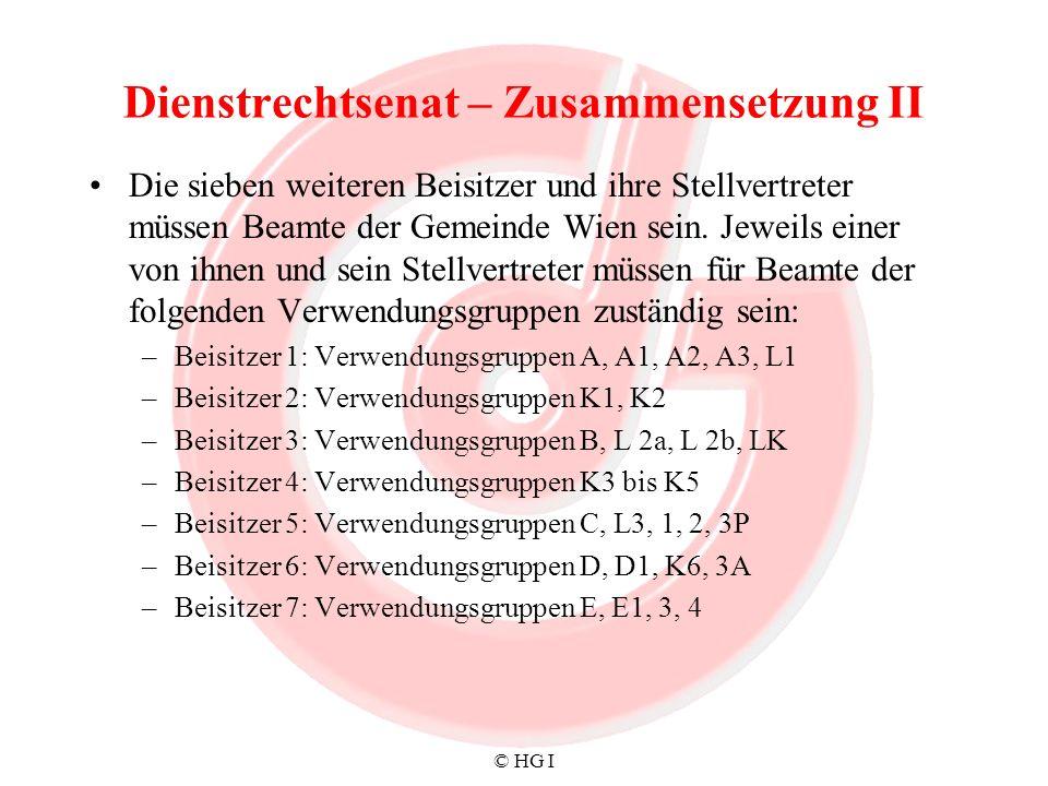 © HG I Dienstrechtsenat – Zusammensetzung II Die sieben weiteren Beisitzer und ihre Stellvertreter müssen Beamte der Gemeinde Wien sein. Jeweils einer
