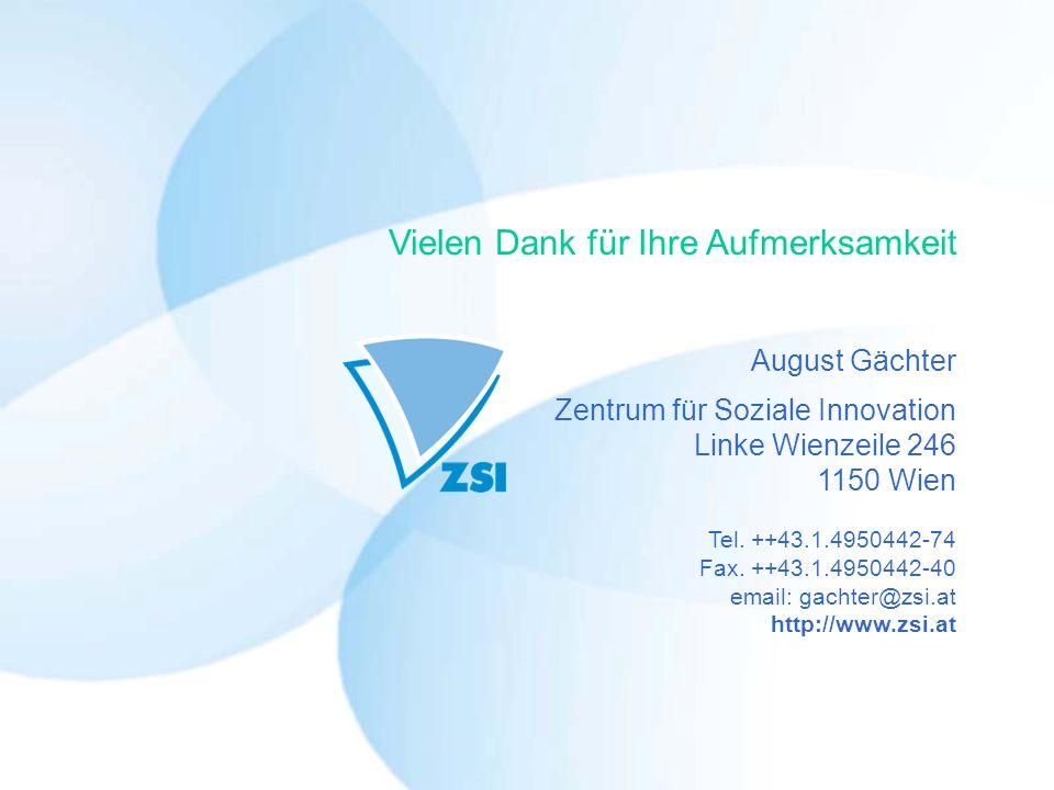 August Gächter Zentrum für Soziale Innovation Linke Wienzeile 246 1150 Wien Tel.