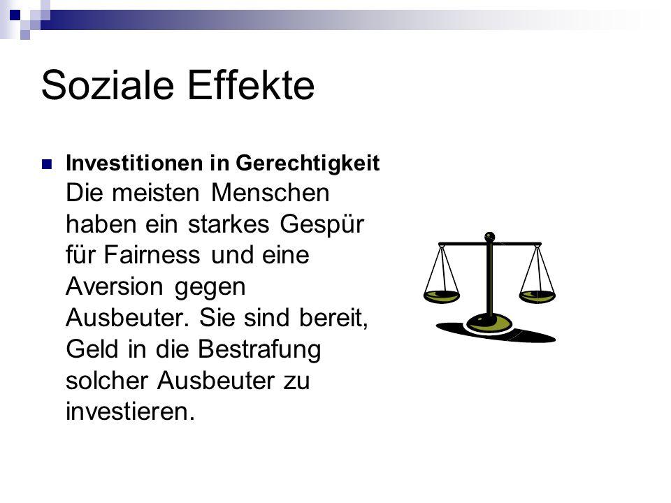 Soziale Effekte Investitionen in Gerechtigkeit Die meisten Menschen haben ein starkes Gespür für Fairness und eine Aversion gegen Ausbeuter. Sie sind
