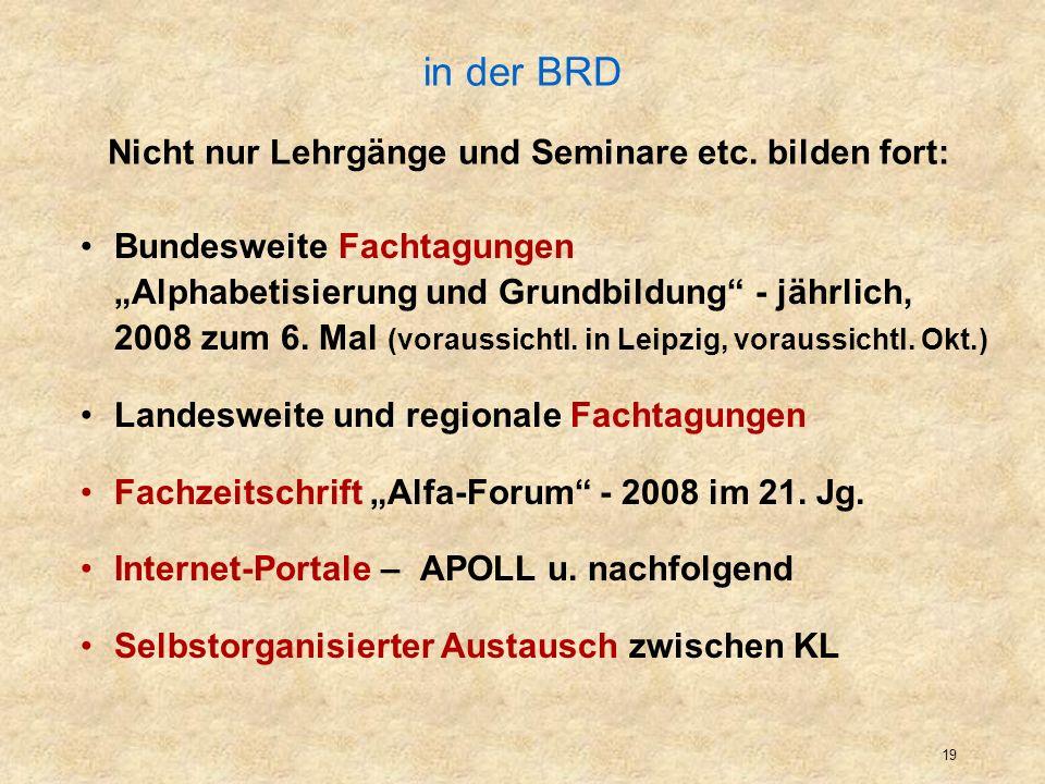 20 Initiative für Alphabetisierung in Bayern (auslaufend) Im Spannungsfeld zwischen Projektbedingungen von ESF und Ministerium, nahezu ausgetrockneter deutsch-muttersprachlicher Alphabetisierung und Vorgaben des BAMF Für die strukturierenden / organisierenden Mitarb.
