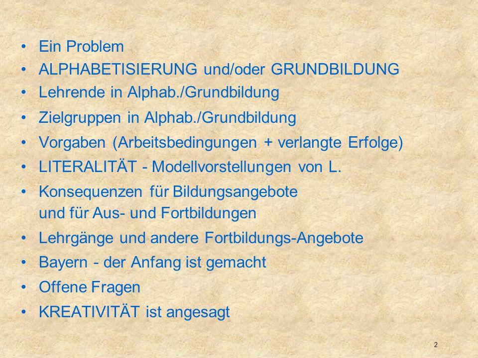 3 Analphabetismus trotz Schulbesuchs Zur Erinnerung Die allermeisten (deutschen) Erwachsenen und Jugendlichen, die einer nachholenden Grundbildung bedürfen (incl.