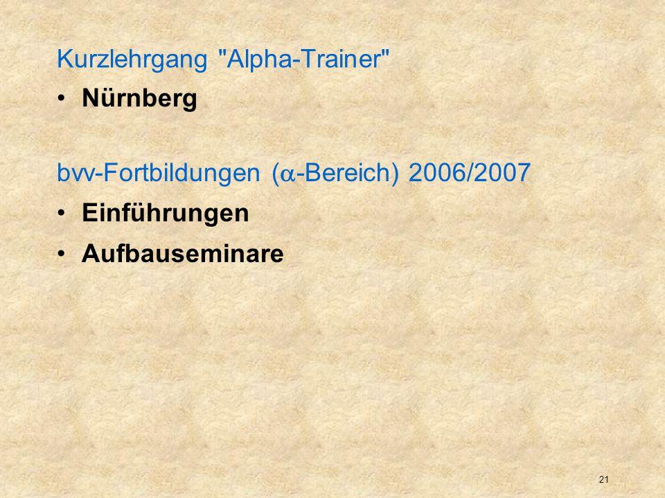 22 bvv-Fortbildungen ( -Bereich) 2006/2007 Einführungen Einführung in die Alphabetisierungsarbeit (Grundkurs) Einführung in die Alphabetisierung von MigrantInnen