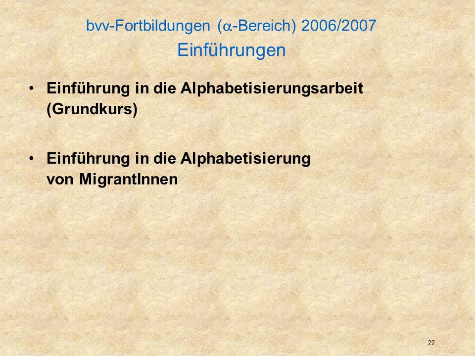 23 bvv-Fortbildungen ( -Bereich) 2006/2007 Aufbauseminare Ziele setzen, Fortschritte feststellen, Anfänge von Portfolio-Arbeit Spracherfahrungs-Ansatz, stellvertretendes u.