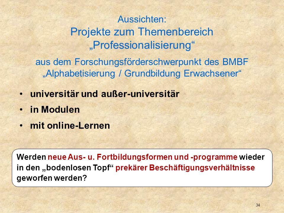 35 Aussichten: Projekte zum Themenbereich Professionalisierung aus dem Forschungsförderschwerpunkt des BMBF Alphabetisierung / Grundbildung Erwachsener universitär und außer-universitär in Modulen mit online-Lernen Werden neue Aus- u.