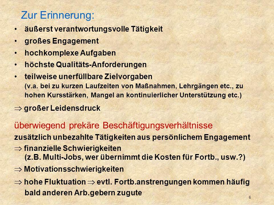 7 Alphabetisierung + Grundbildung Erwachsener für die Arbeit mit welchen Zielgruppen soll Aus-, Fort- und Weiterbildung die KL qualifizieren.