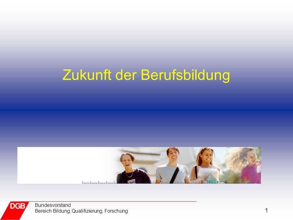 1 Bundesvorstand Bereich Bildung, Qualifizierung, Forschung Zukunft der Berufsbildung
