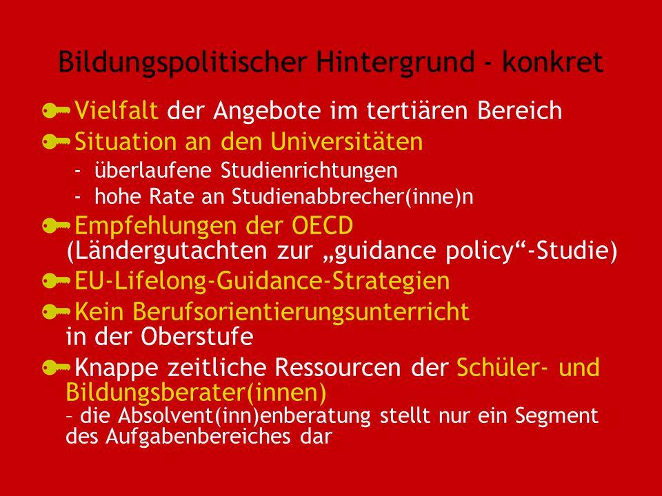 Bildungspolitischer Hintergrund - konkret Vielfalt der Angebote im tertiären Bereich Situation an den Universitäten -überlaufene Studienrichtungen -hohe Rate an Studienabbrecher(inne)n Empfehlungen der OECD (Ländergutachten zur guidance policy-Studie) EU-Lifelong-Guidance-Strategien Kein Berufsorientierungsunterricht in der Oberstufe Knappe zeitliche Ressourcen der Schüler- und Bildungsberater(innen) – die Absolvent(inn)enberatung stellt nur ein Segment des Aufgabenbereiches dar