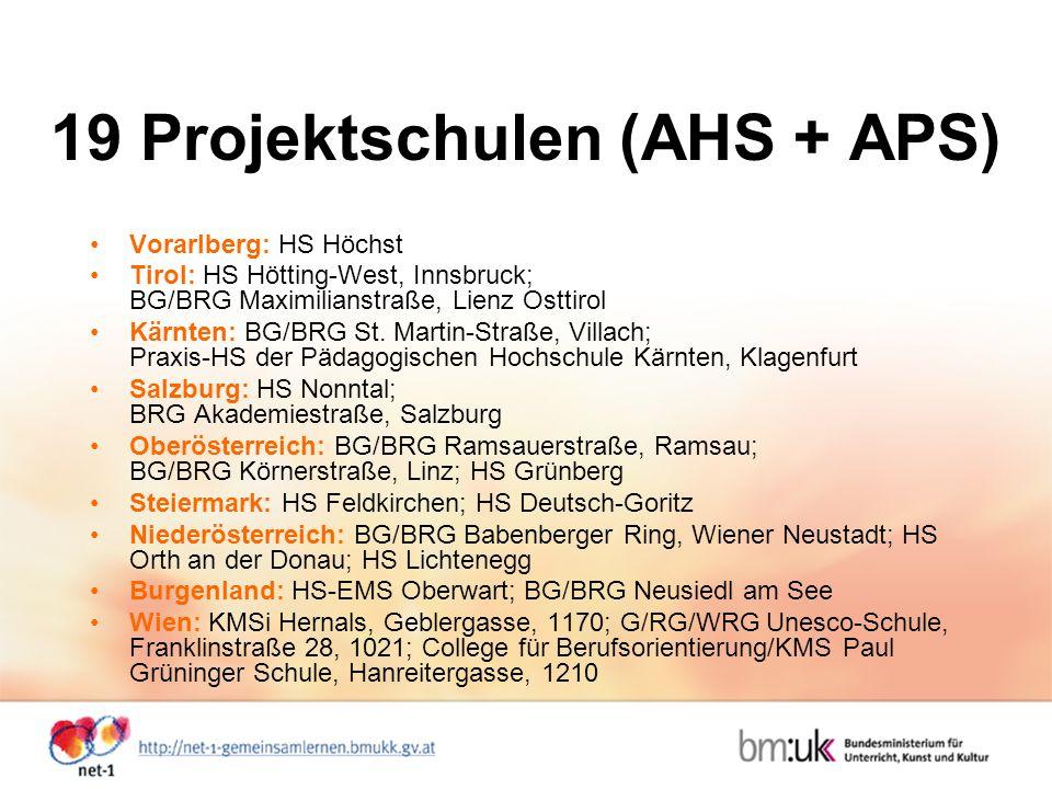 19 Projektschulen (AHS + APS) Vorarlberg: HS Höchst Tirol: HS Hötting-West, Innsbruck; BG/BRG Maximilianstraße, Lienz Osttirol Kärnten: BG/BRG St.