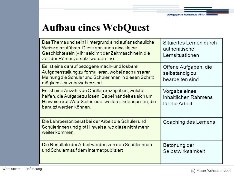 (c) Moser/Scheuble 2005 WebQuests - Einführung Aufbau eines WebQuest Das Thema und sein Hintergrund sind auf anschauliche Weise einzuführen. Dies kann