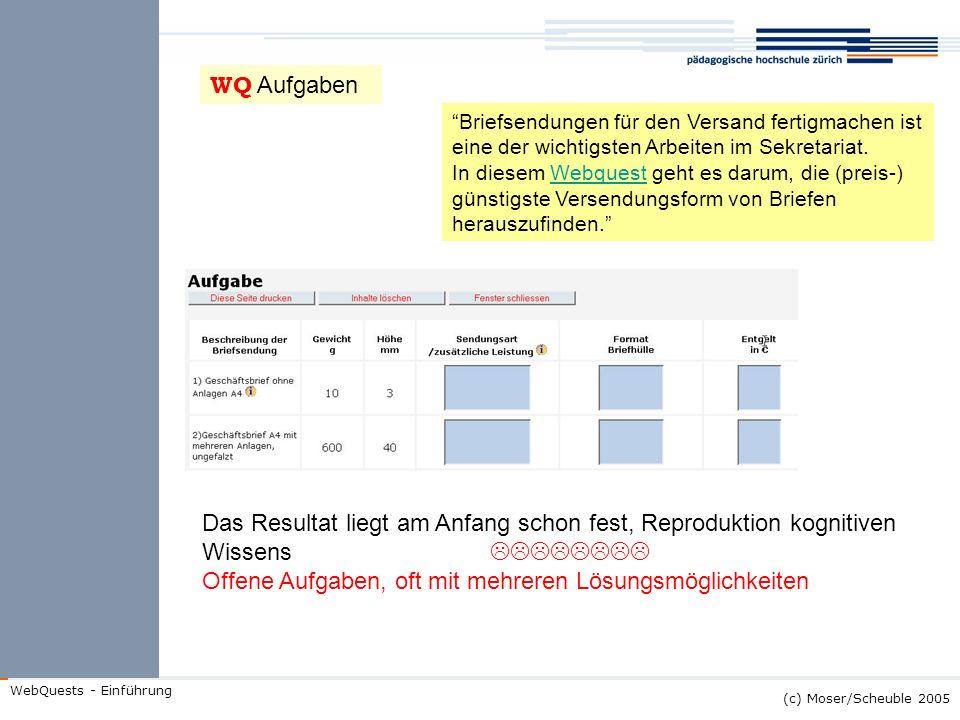 (c) Moser/Scheuble 2005 WebQuests - Einführung Briefsendungen für den Versand fertigmachen ist eine der wichtigsten Arbeiten im Sekretariat. In diesem