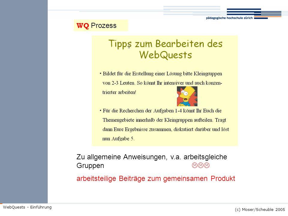 (c) Moser/Scheuble 2005 WebQuests - Einführung WQ Prozess Zu allgemeine Anweisungen, v.a. arbeitsgleiche Gruppen arbeitsteilige Beiträge zum gemeinsam