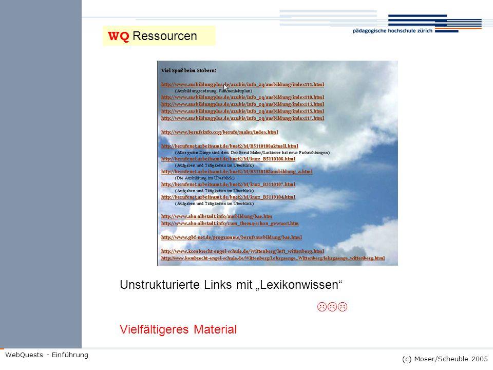 (c) Moser/Scheuble 2005 WebQuests - Einführung Unstrukturierte Links mit Lexikonwissen Vielfältigeres Material WQ Ressourcen