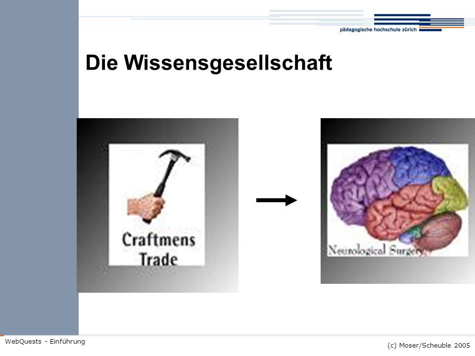 (c) Moser/Scheuble 2005 WebQuests - Einführung Umgang mit Wissen früher: repetitiv routinemässig standardisiert passiv heute: konsruktiv situativ adaptiv aktiv kooperativ
