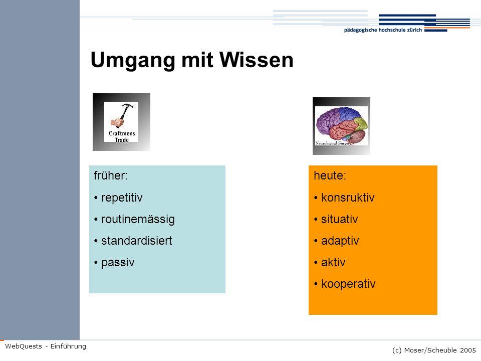 (c) Moser/Scheuble 2005 WebQuests - Einführung Umgang mit Wissen früher: repetitiv routinemässig standardisiert passiv heute: konsruktiv situativ adap