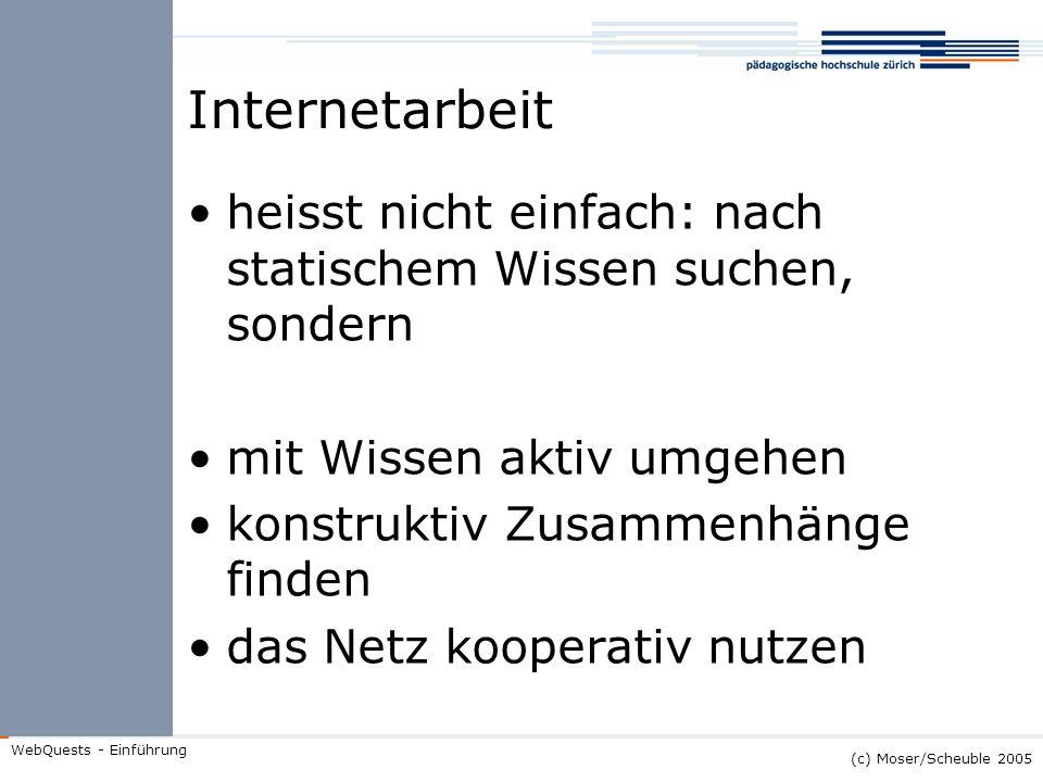 (c) Moser/Scheuble 2005 WebQuests - Einführung Internetarbeit heisst nicht einfach: nach statischem Wissen suchen, sondern mit Wissen aktiv umgehen ko