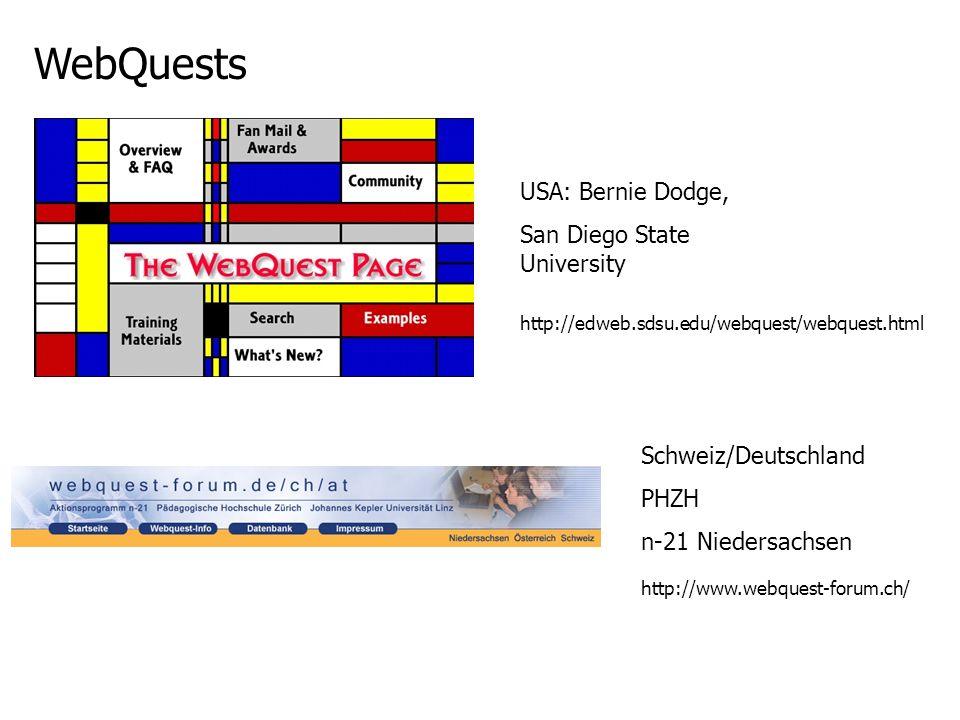 WebQuests USA: Bernie Dodge, San Diego State University http://edweb.sdsu.edu/webquest/webquest.html Schweiz/Deutschland PHZH n-21 Niedersachsen http: