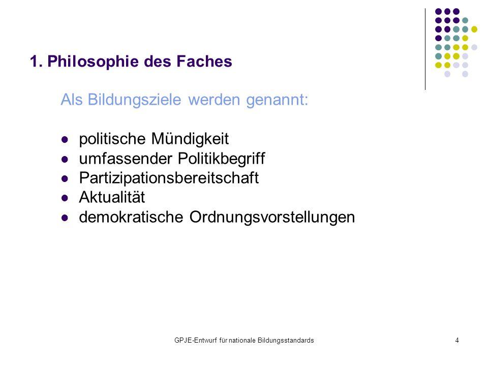 GPJE-Entwurf für nationale Bildungsstandards4 1. Philosophie des Faches Als Bildungsziele werden genannt: politische Mündigkeit umfassender Politikbeg