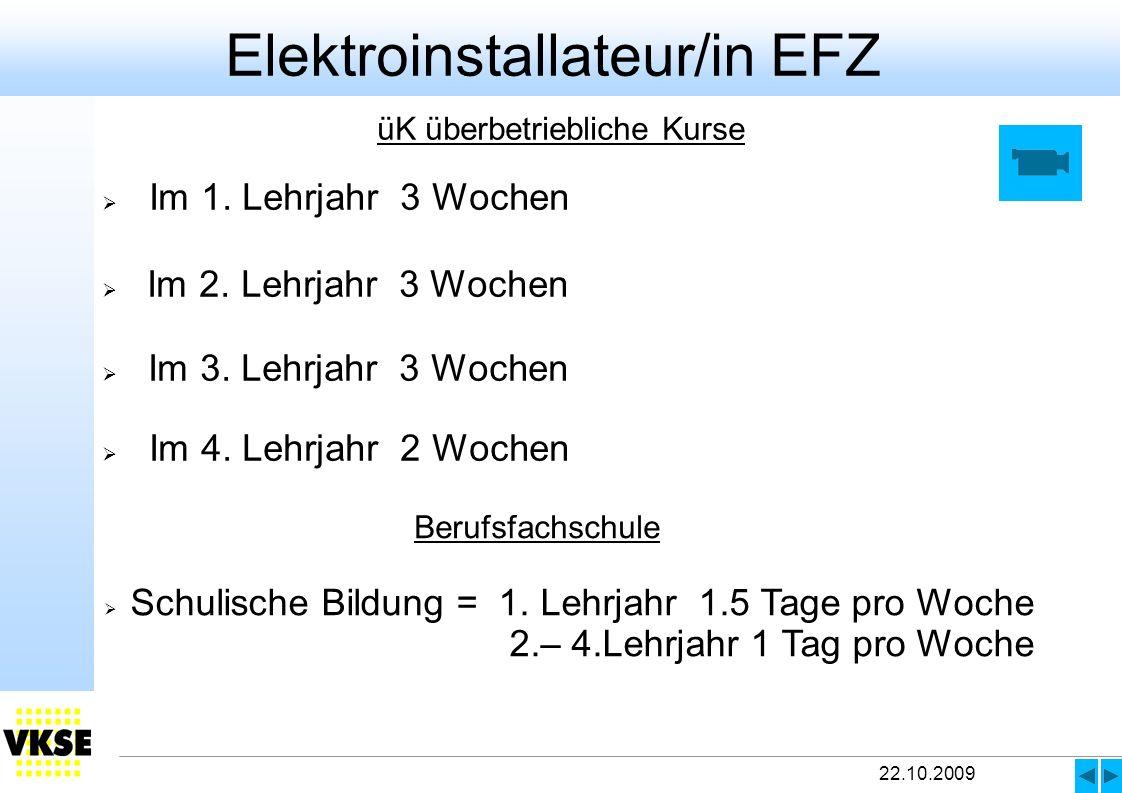 22.10.2009 üK überbetriebliche Kurse Im 1.Lehrjahr 3 Wochen Im 2.