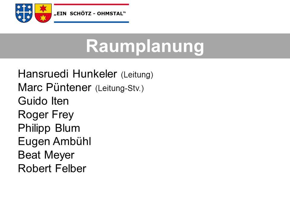 Hansruedi Hunkeler (Leitung) Marc Püntener (Leitung-Stv.) Guido Iten Roger Frey Philipp Blum Eugen Ambühl Beat Meyer Robert Felber Raumplanung