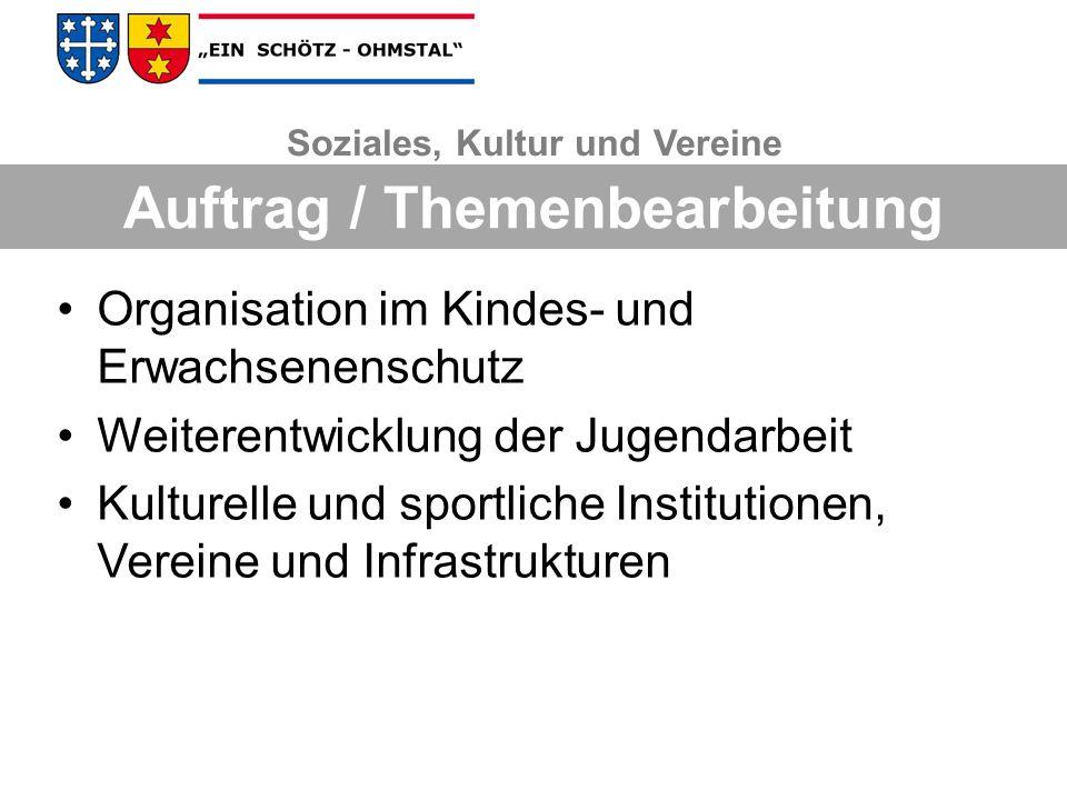 Organisation im Kindes- und Erwachsenenschutz Weiterentwicklung der Jugendarbeit Kulturelle und sportliche Institutionen, Vereine und Infrastrukturen