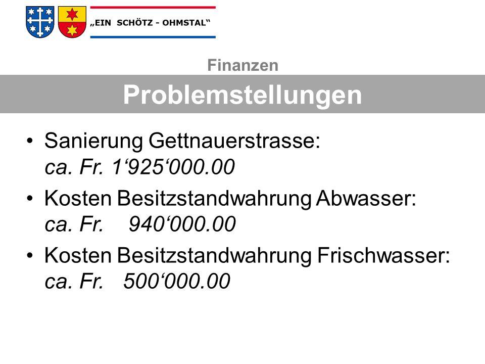 Sanierung Gettnauerstrasse: ca. Fr. 1925000.00 Kosten Besitzstandwahrung Abwasser: ca. Fr. 940000.00 Kosten Besitzstandwahrung Frischwasser: ca. Fr. 5