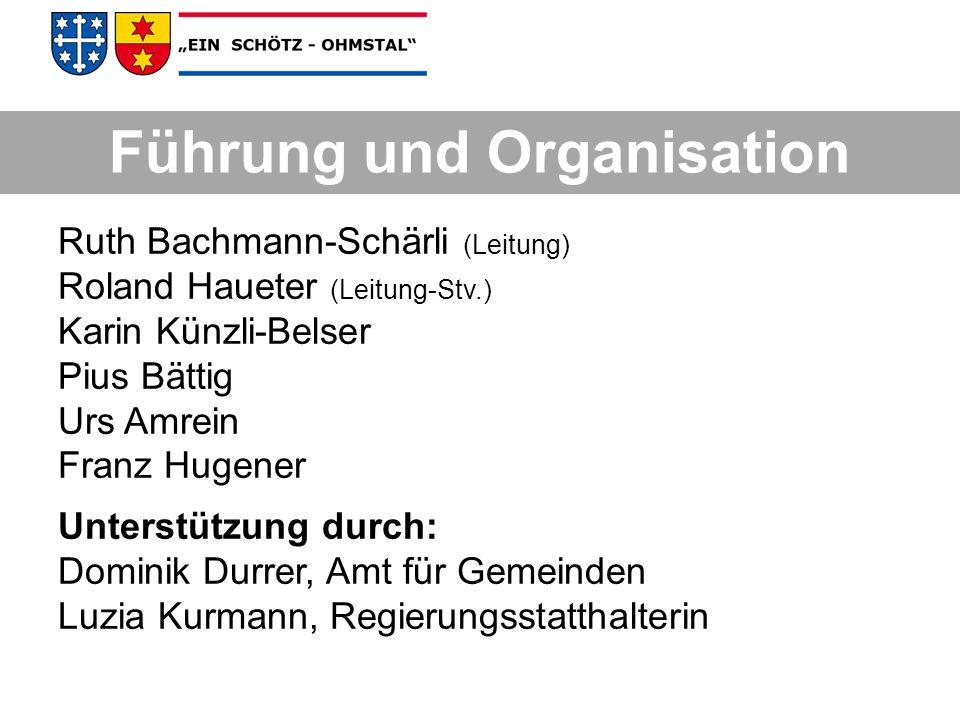 Führung und Organisation Ruth Bachmann-Schärli (Leitung) Roland Haueter (Leitung-Stv.) Karin Künzli-Belser Pius Bättig Urs Amrein Franz Hugener Unters