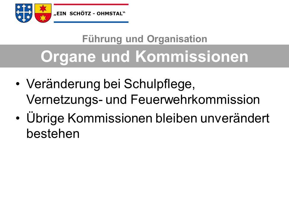 Veränderung bei Schulpflege, Vernetzungs- und Feuerwehrkommission Übrige Kommissionen bleiben unverändert bestehen Führung und Organisation Organe und