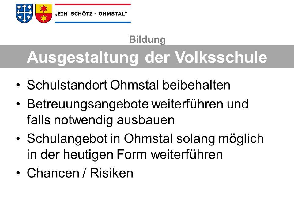 Investitionskosten für Ausbau der Tagesschule Ohmstal: ca.