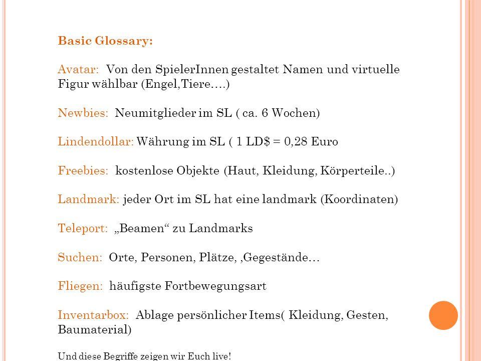 Basic Glossary: Avatar: Von den SpielerInnen gestaltet Namen und virtuelle Figur wählbar (Engel,Tiere….) Newbies: Neumitglieder im SL ( ca.