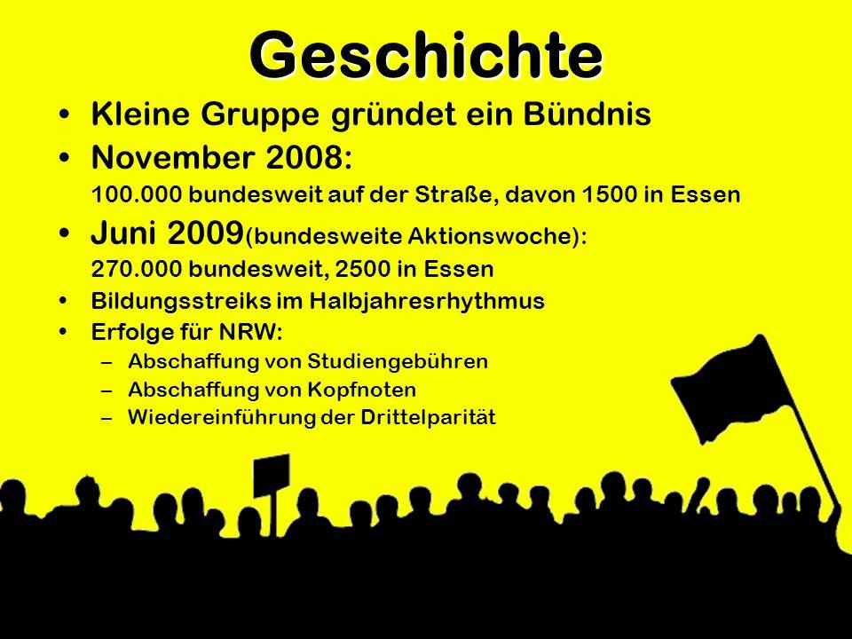 Geschichte Kleine Gruppe gründet ein Bündnis November 2008: 100.000 bundesweit auf der Straße, davon 1500 in Essen Juni 2009 (bundesweite Aktionswoche