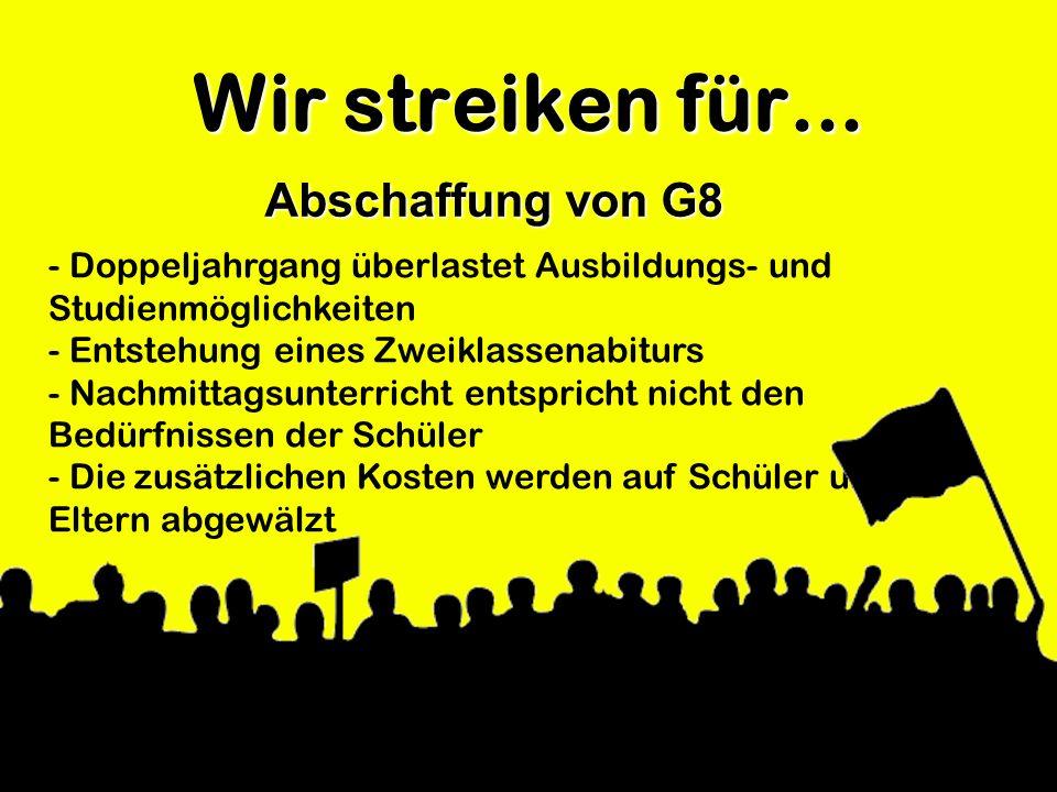 Wir streiken für... Abschaffung von G8 - Doppeljahrgang überlastet Ausbildungs- und Studienmöglichkeiten - Entstehung eines Zweiklassenabiturs - Nachm