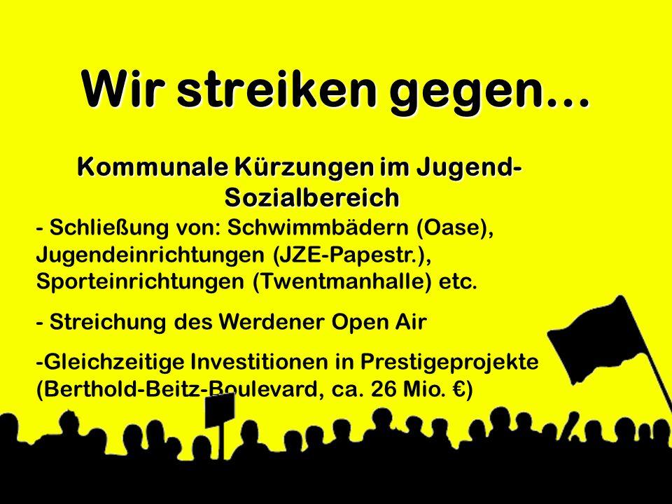 Wir streiken gegen... Kommunale Kürzungen im Jugend- Sozialbereich - Schließung von: Schwimmbädern (Oase), Jugendeinrichtungen (JZE-Papestr.), Sportei