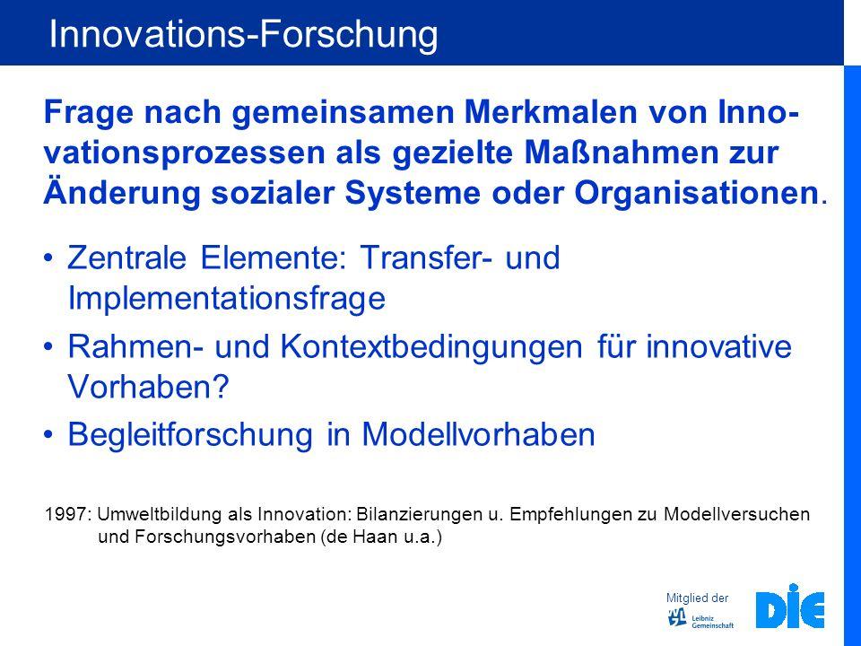 Mitglied der Innovations-Forschung Zentrale Elemente: Transfer- und Implementationsfrage Rahmen- und Kontextbedingungen für innovative Vorhaben? Begle