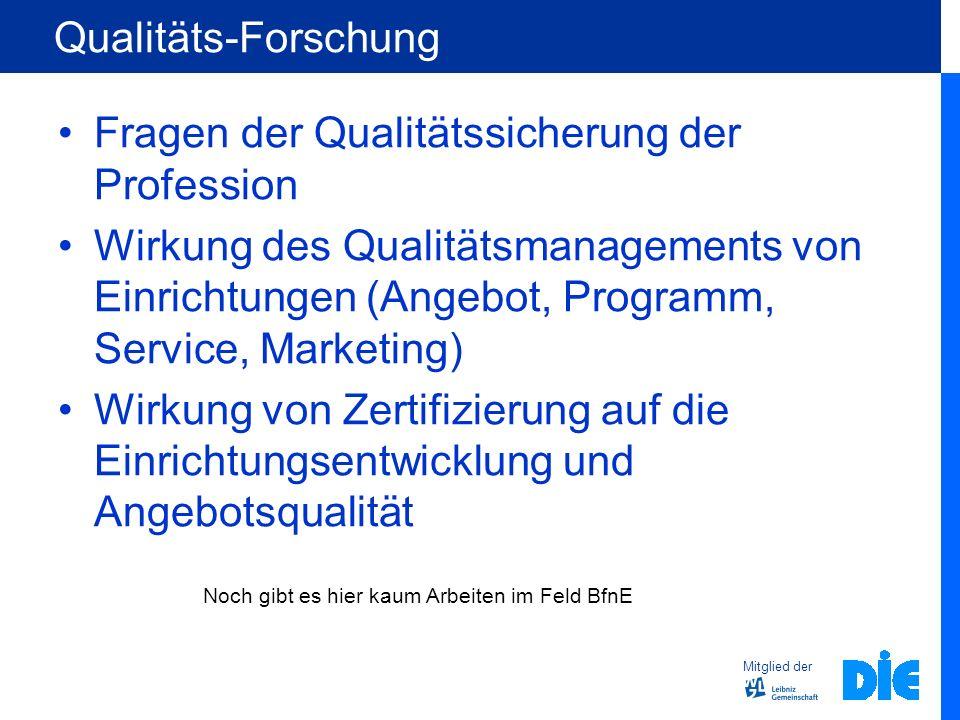 Mitglied der Qualitäts-Forschung Fragen der Qualitätssicherung der Profession Wirkung des Qualitätsmanagements von Einrichtungen (Angebot, Programm, S