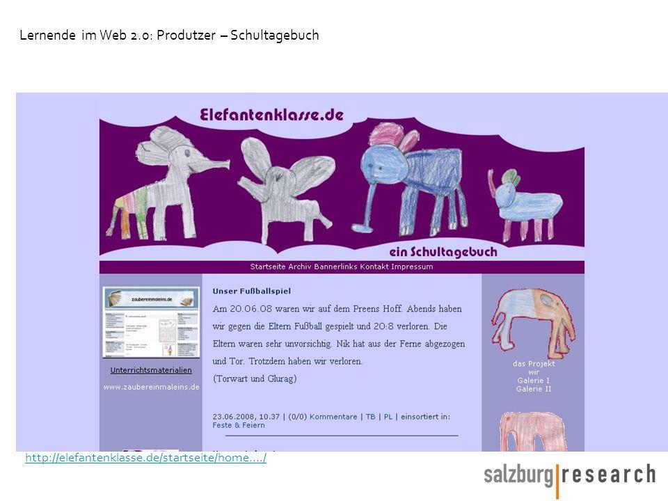 http://elefantenklasse.de/startseite/home..../ Lernende im Web 2.0: Produtzer – Schultagebuch