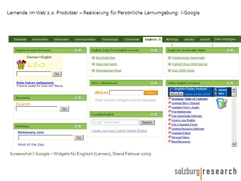 Screenshot I-Google – Widgets für Englisch (Lernen), Stand Februar 2009 Lernende im Web 2.0: Produtzer – Realsierung für Persönliche Lernumgebung: I-G